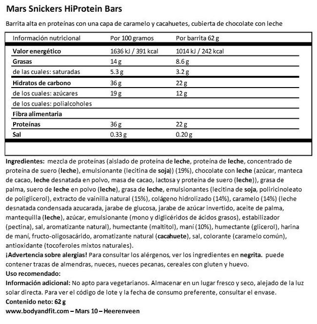 Snickers HiProtein Bar Nutritional Information 1