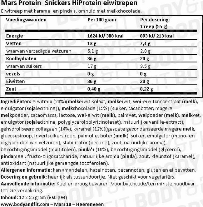 Snickers HiProtein Eiwitrepen Nutritional Information 1