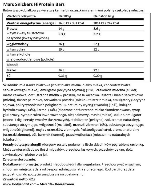 Batony Snickers HiProtein Nutritional Information 1