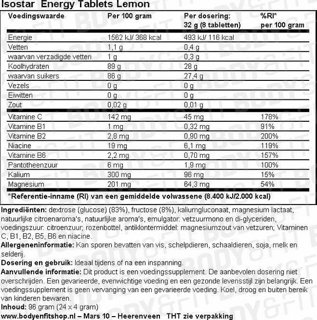 Energy Tablets Lemon Nutritional Information 1