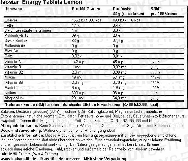 Energy Tablets Lemon Nutritional Information 3