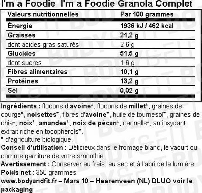 I'm a Foodie Granola Complet Nutritional Information 1
