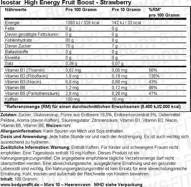 High Energy Fruit Boost Nutritional Information 1