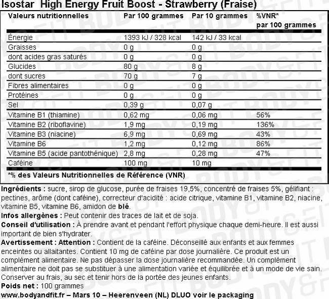 Booster aux fruits High Energy Fruit Boost Nutritional Information 1