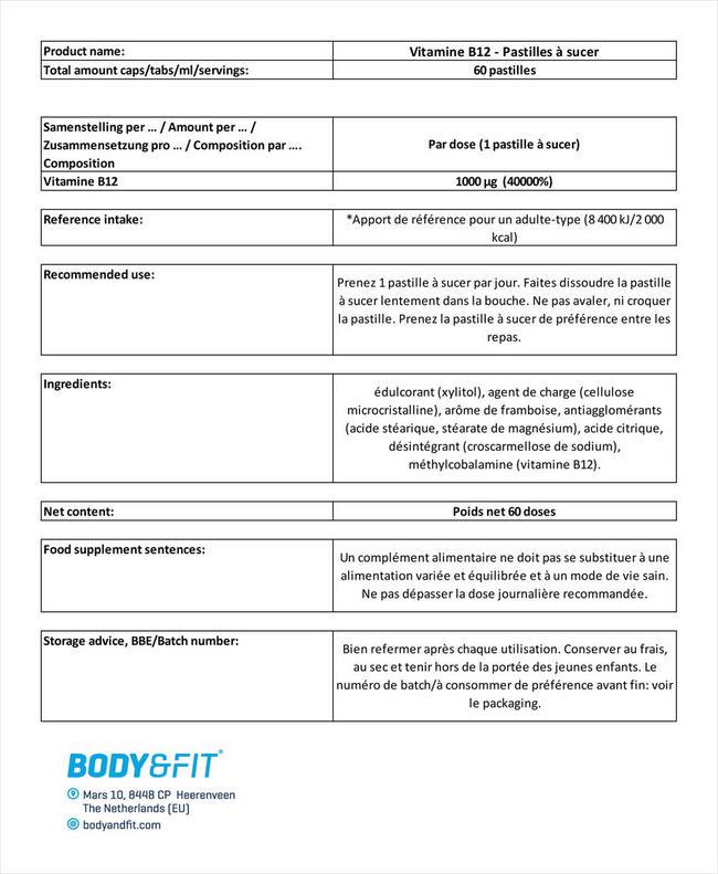 Vitamine B12 - Pastilles à sucer Nutritional Information 1