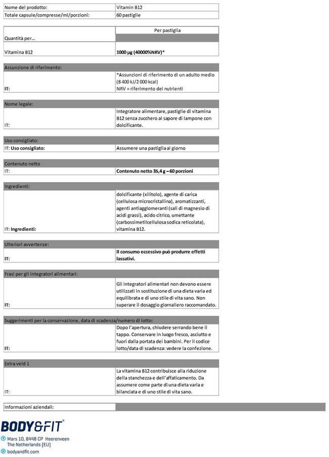 Vitamine B12 - pastiglie Nutritional Information 1