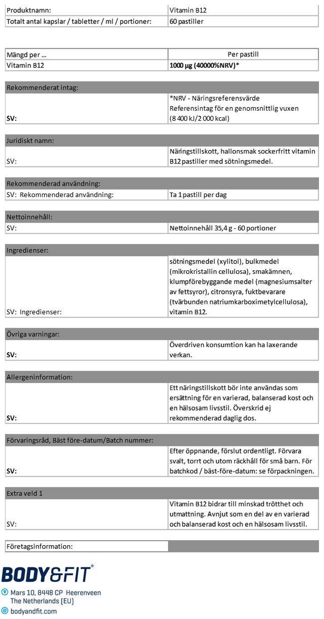 Vitamin B12 - sugtabletter Nutritional Information 1