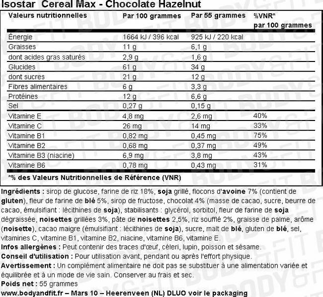 Cereal Max Chocolate-Hazelnut Bars Nutritional Information 1