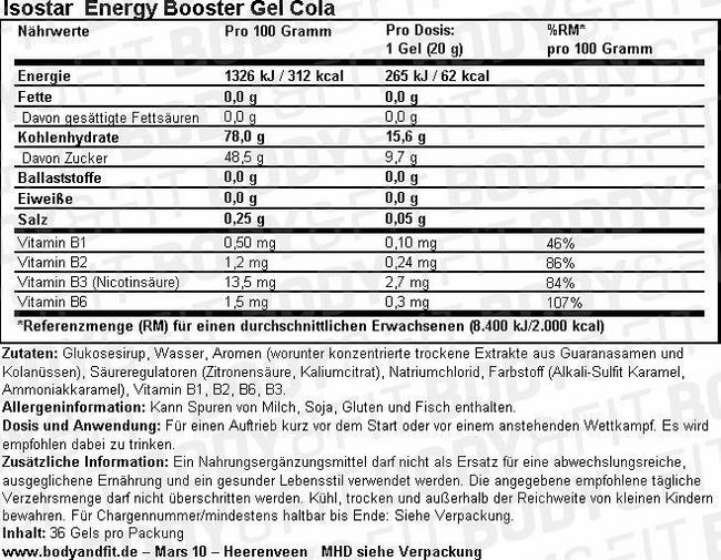 Energy Booster Gel Cola Nutritional Information 1