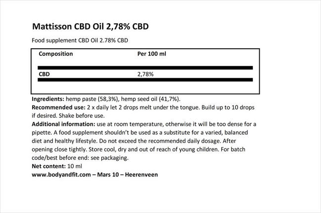 CBD Oil 2.78% Nutritional Information 1