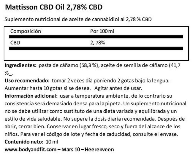 CBD Oil 2,78 % Nutritional Information 1