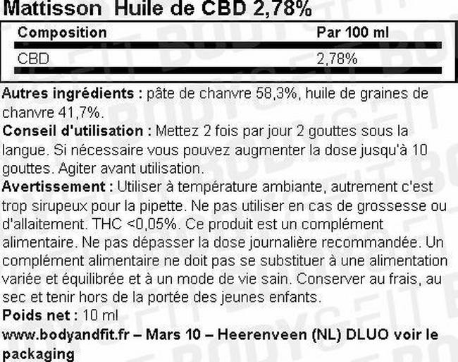 Huile de CBD 2,78% Nutritional Information 1
