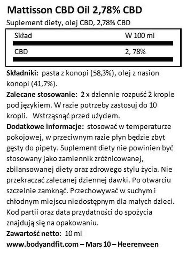 Olej CBD 2,78% Nutritional Information 1