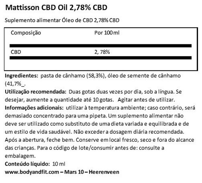 CBD Oil 2.78% Nutritional Information 1