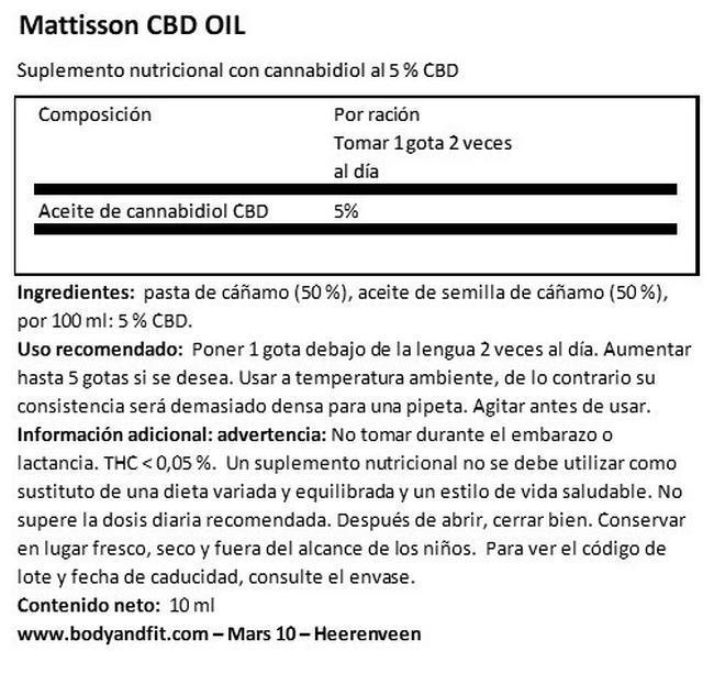 CBD Oil 5 % Nutritional Information 1