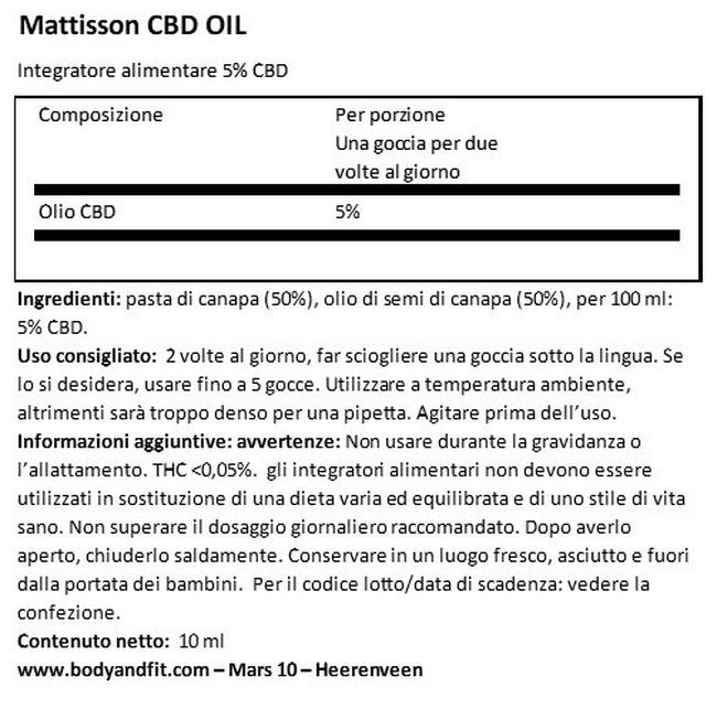 CBD Oil 5% Nutritional Information 1