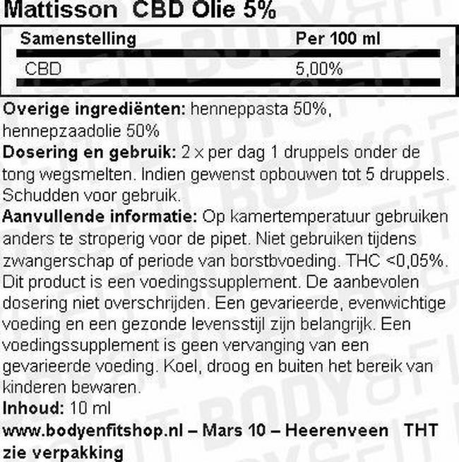 CBD Olie 5% Nutritional Information 1