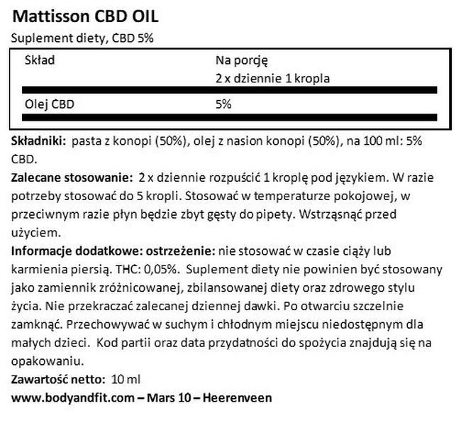 Olej CBD 5% Nutritional Information 1