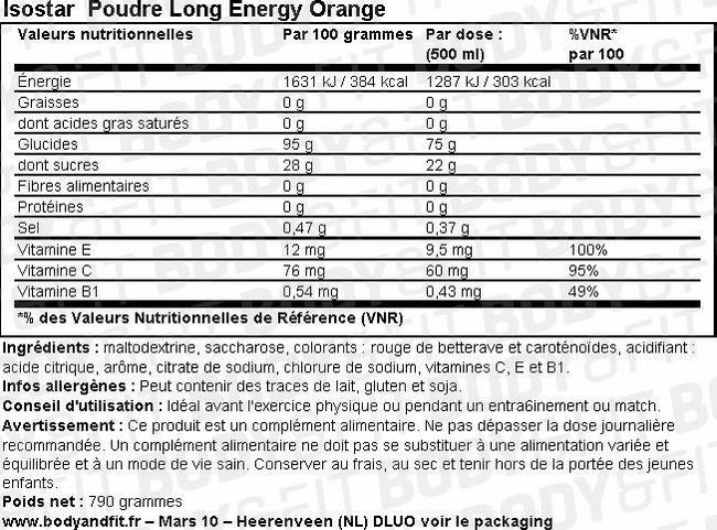 Poudre énergétique à l'orange Long Energy Powder Orange Nutritional Information 1