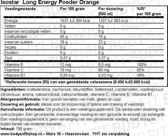 Long Energy Poeder Orange Nutritional Information 1