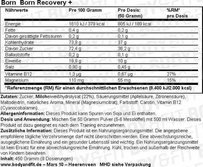 Born Recovery + Nutritional Information 1
