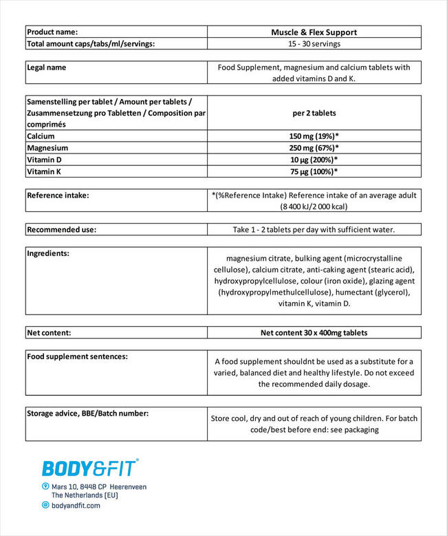 Muscle & Flex Support Nutritional Information 2