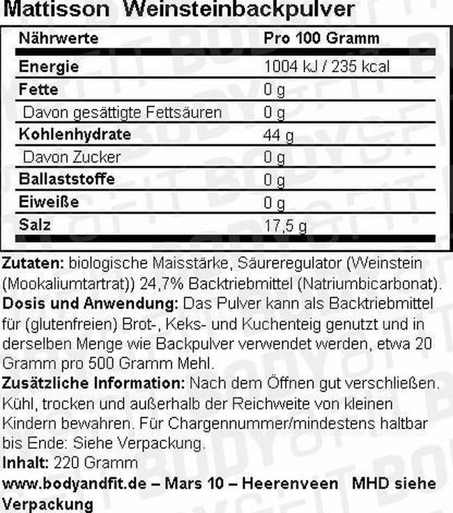 Weinstein-Backpulver Bio Nutritional Information 1