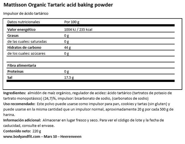 Winestone Baking Powder Nutritional Information 1