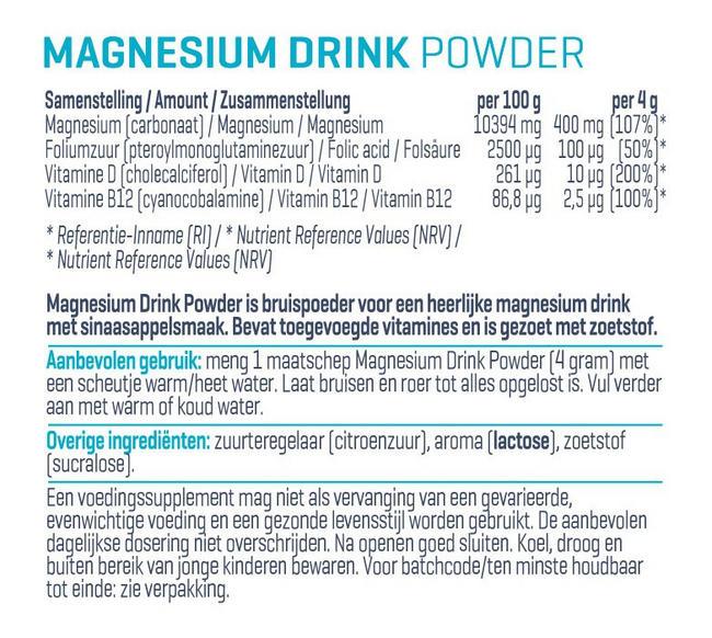 Magnesium Drink Powder Nutritional Information 1
