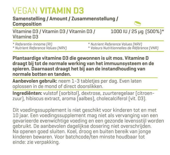 Vegan Vitamine D3 Nutritional Information 1