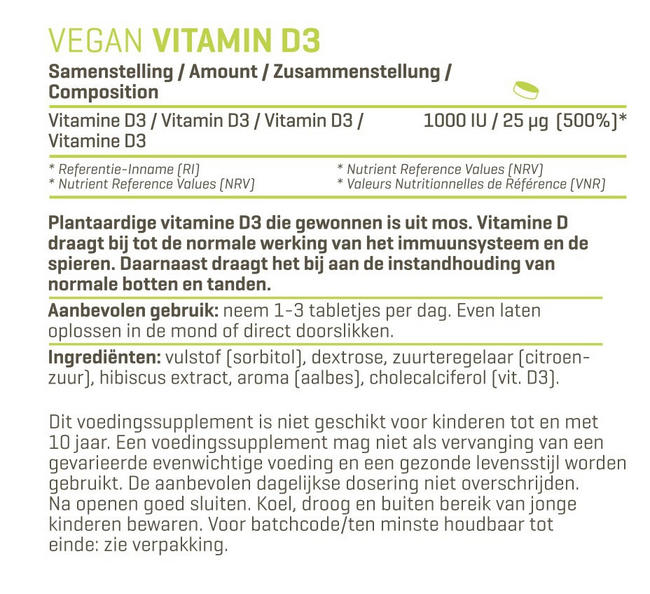 Vegan Vitamine D3 Nutritional Information 1