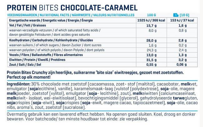 Protein Bites Crunchy Nutritional Information 1