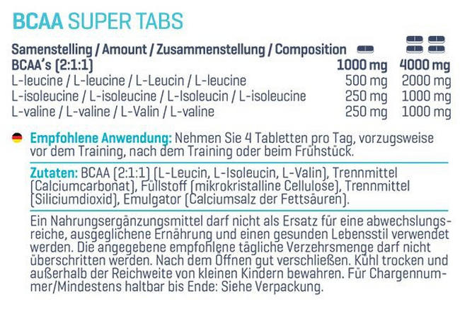 BCAA Super Tabs Nutritional Information 2