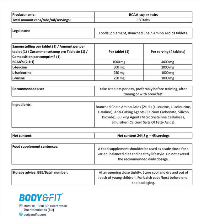 BCAA Super Tabs Nutritional Information 4