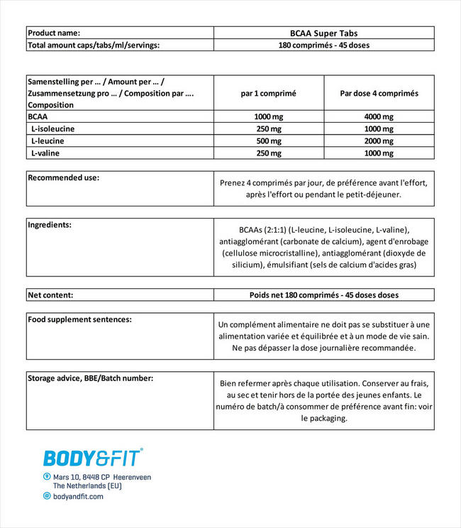 BCAA Super Tabs Nutritional Information 5