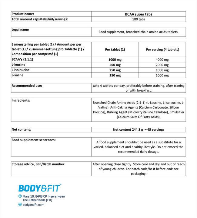 BCAA 슈퍼 탭스 Nutritional Information 1
