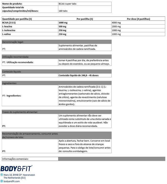 BCAA Super comprimidos Nutritional Information 1
