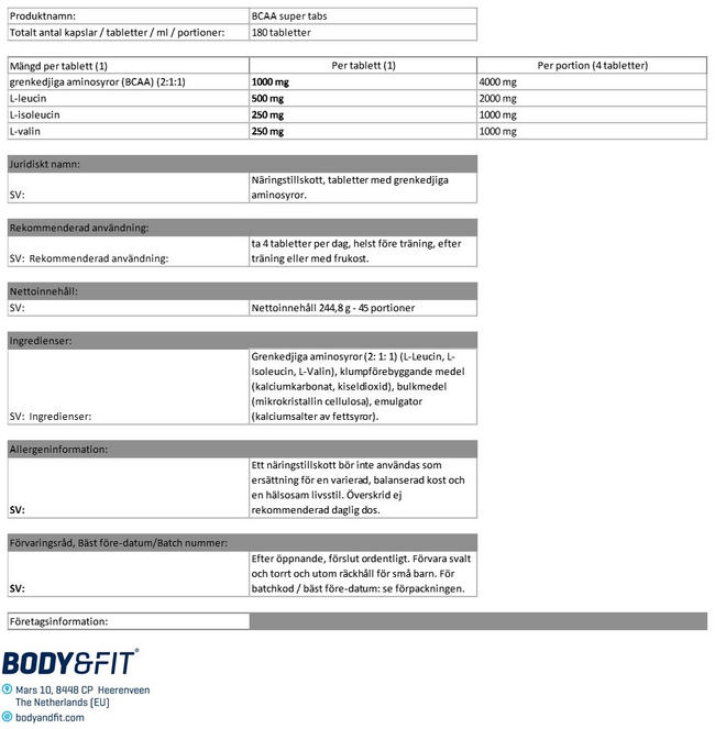 BCAA Super Tabs Nutritional Information 1