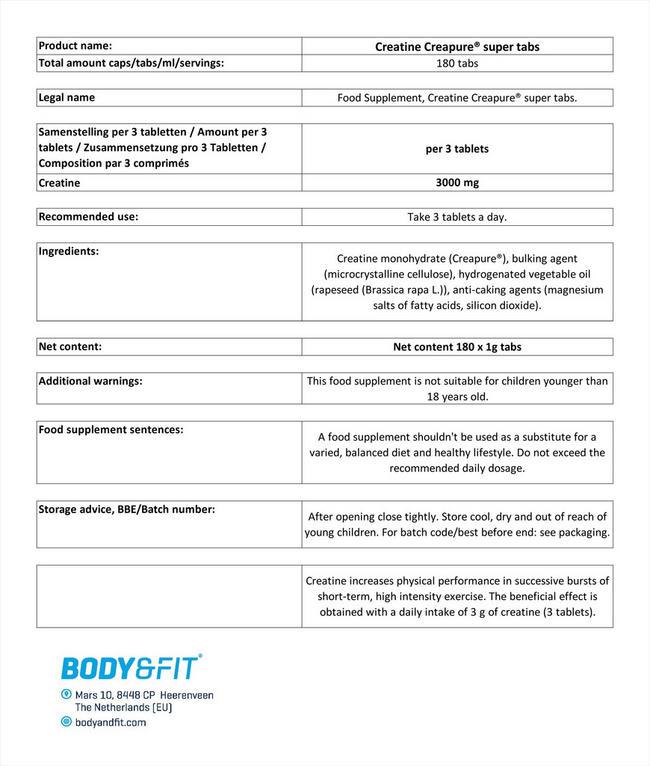 クレアチンCreaPure®スーパータブレット Nutritional Information 1