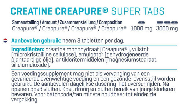 Creatine - Creapure® Super Tabs Nutritional Information 1