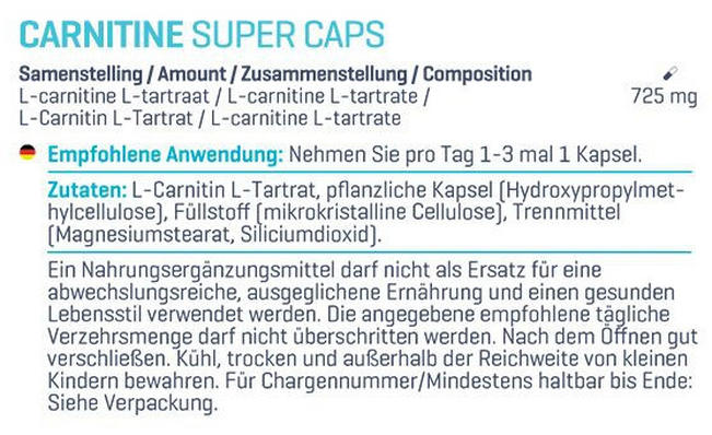 L-Carnitine Super Caps Nutritional Information 1