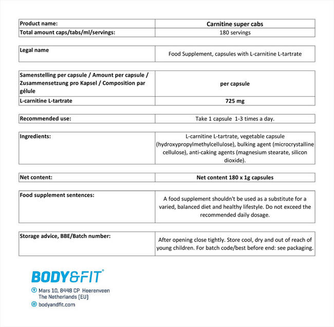 L-カルニチン スーパーキャップ Nutritional Information 1