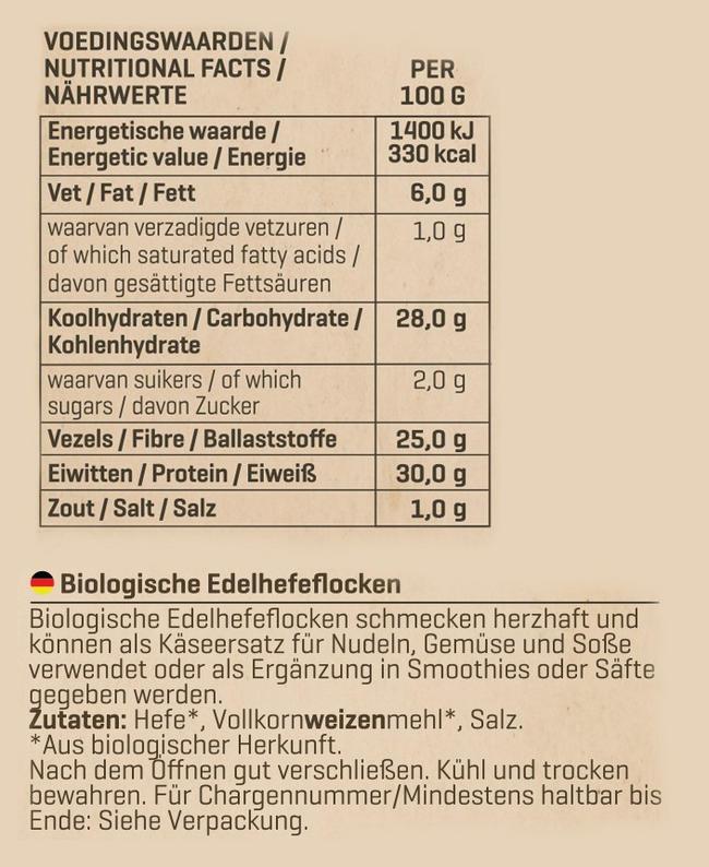 Biologische Nährhefeflocken Nutritional Information 1