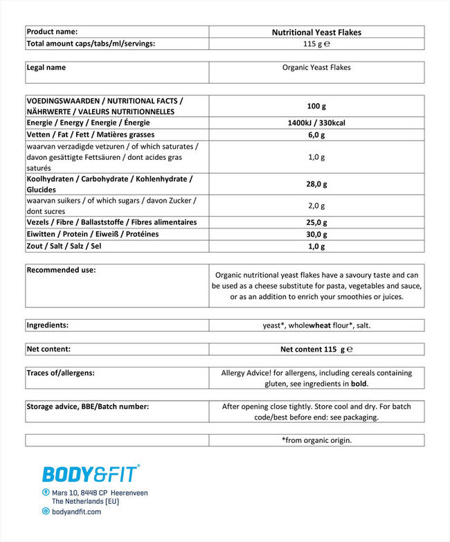 Yeast FlakesOrganic Nutritional Information 1