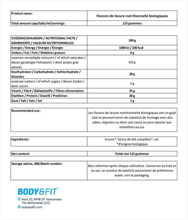 Flocons de levure nutritionnelle biologiques Nutritional Information 1