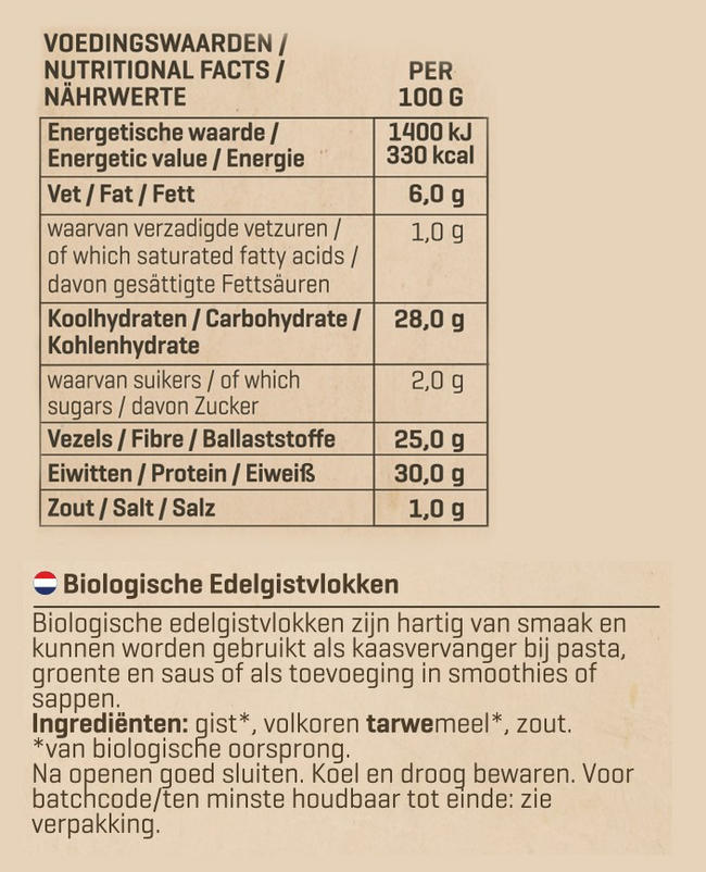 Biologische Edelgistvlokken Nutritional Information 1