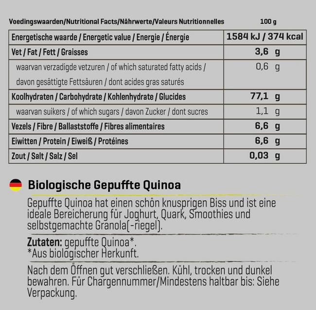 Biologische, gepuffte Quinoa Nutritional Information 1