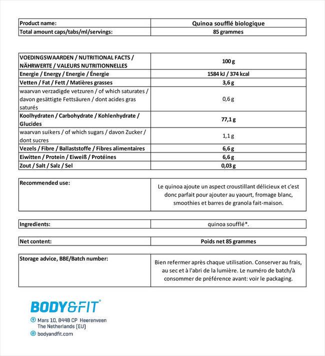 Quinoa soufflé biologique Nutritional Information 1