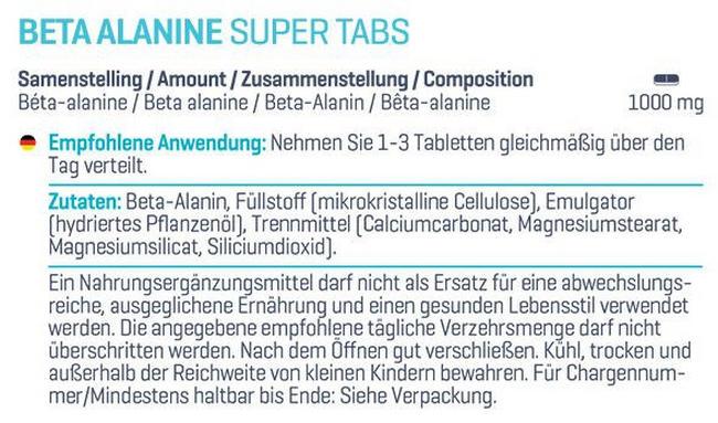 Beta Alanine Super Tabs Nutritional Information 1