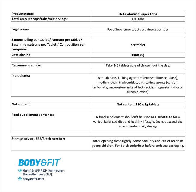 ベータアラニン スーパータブス Nutritional Information 1